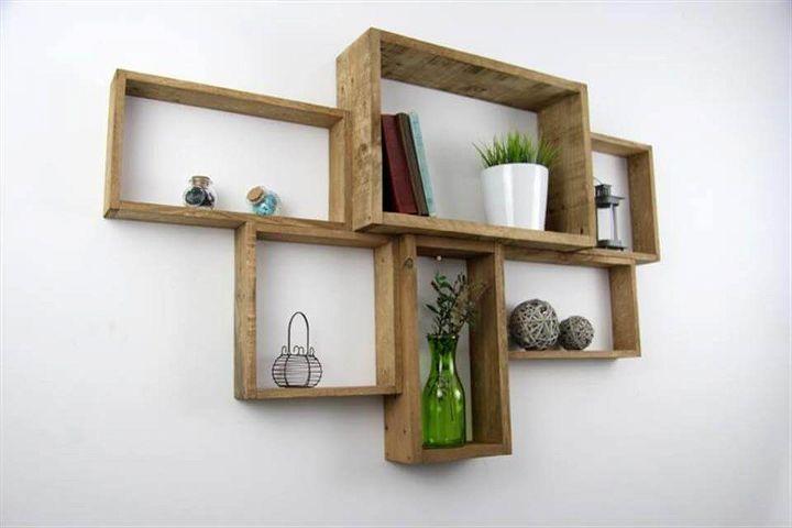 Repurposed pallet wall mounted shelf