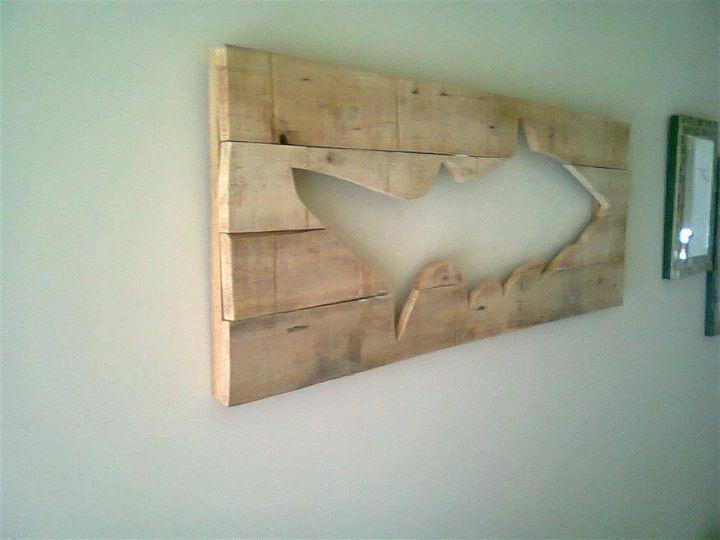 Repurposed pallet fish wall art