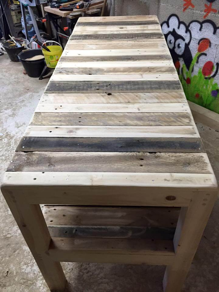 sturdy pallet multipurpose table with shelf