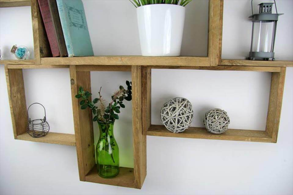 Accent pallet wall mounted shelf