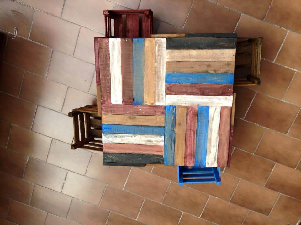 no-cost colorful pallet coffee table