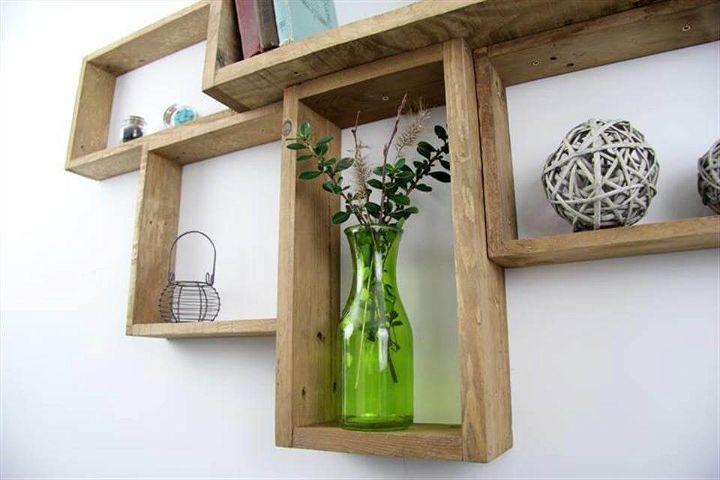 Reclaimed pallet wall mounted shelf