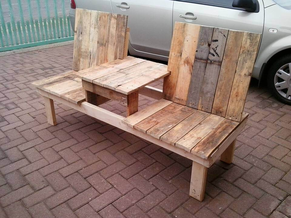 Rustic Wooden Pallet Double Chair Bench