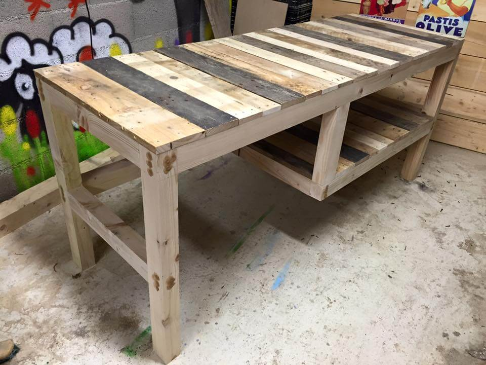 zero-cost pallet multipurpose table with shelf