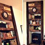 Inspired Pallet Faux Fireplace with Shelves
