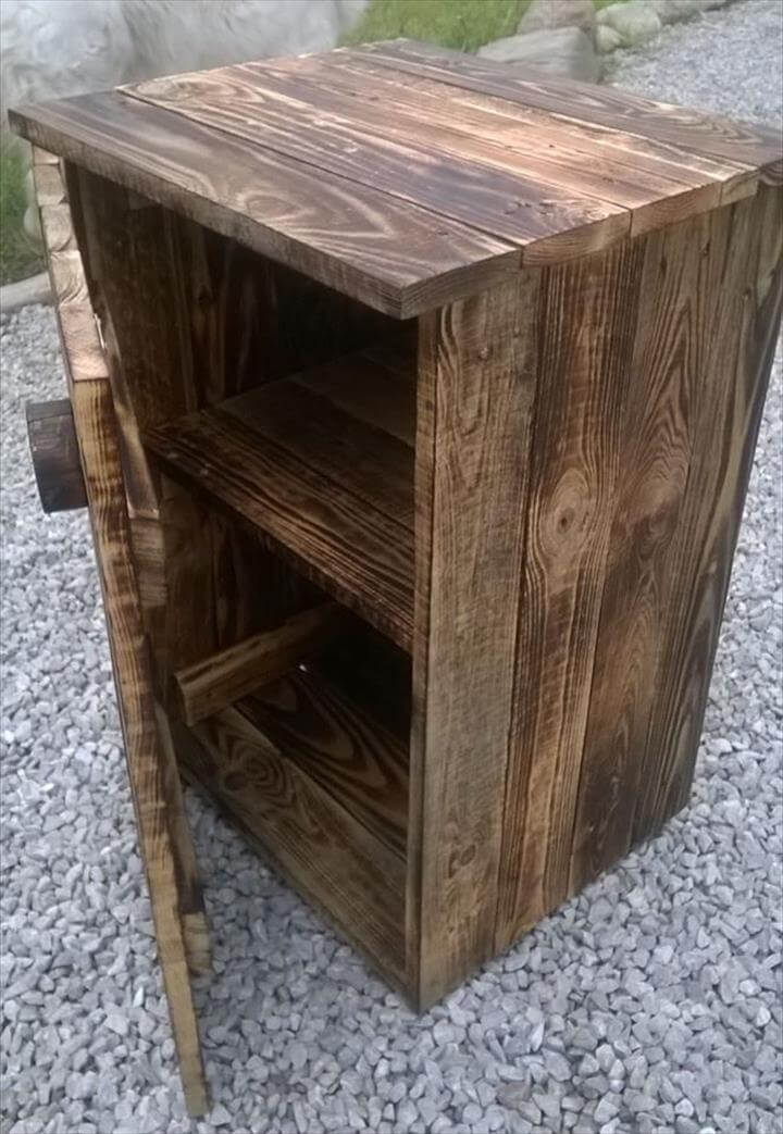 build your own pallet nightstand 99 pallets. Black Bedroom Furniture Sets. Home Design Ideas