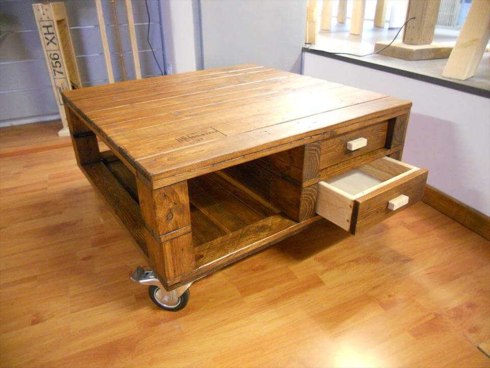 Pallet coffee table with 2 drawers 99 pallets for Diy coffee table with drawers