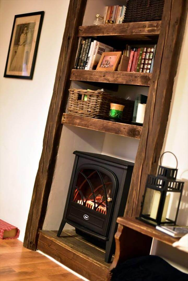 Pallet Faux Fireplace With Shelves 99 Pallets