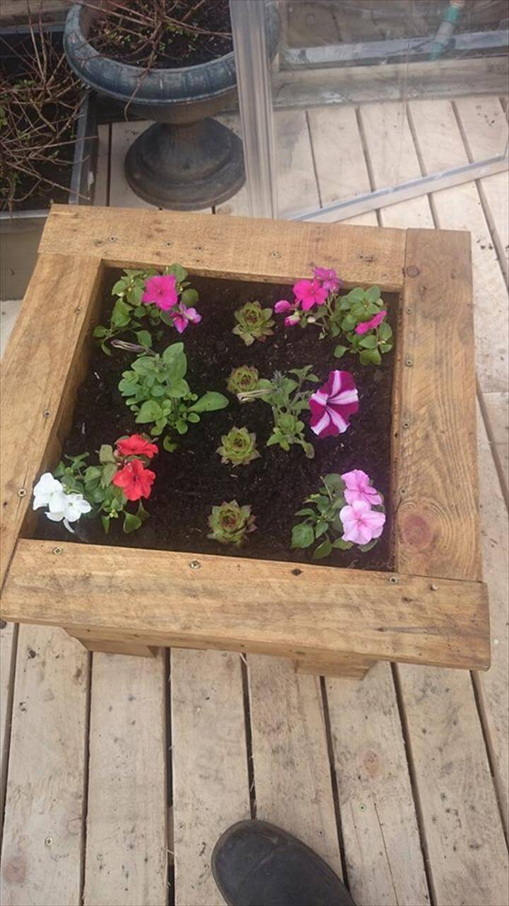 Planter Boxes Planters And In The Corner On Pinterest: Pallet Flower Planter Box