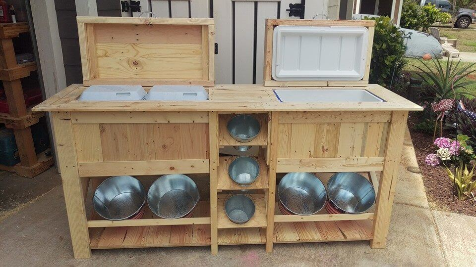 Pallet Ice Chests With Bucket Rack 99 Pallets