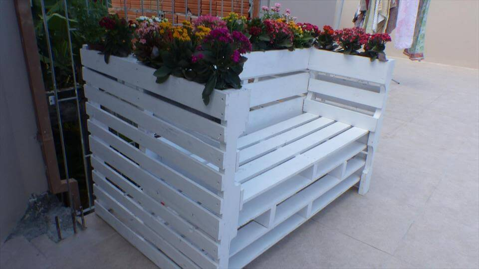 diy pallet bench with flower planter