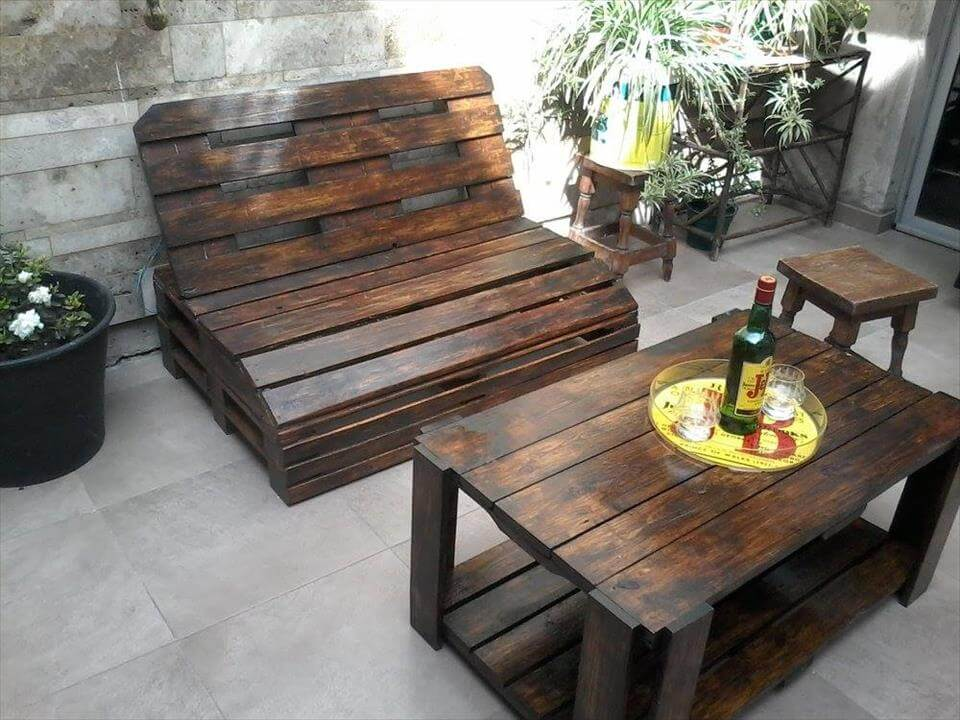 Garden Furniture From Wooden Pallets pallet wood outdoor furniture set | 99 pallets