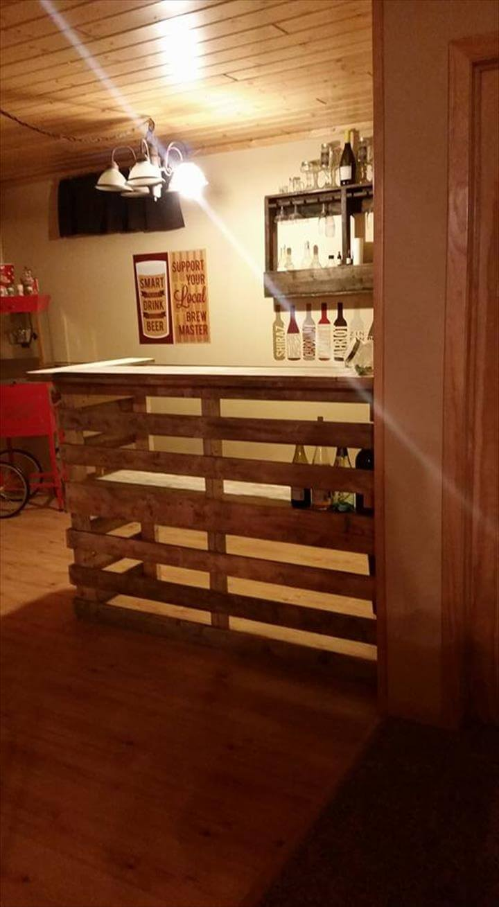 handcrafted pallet bar