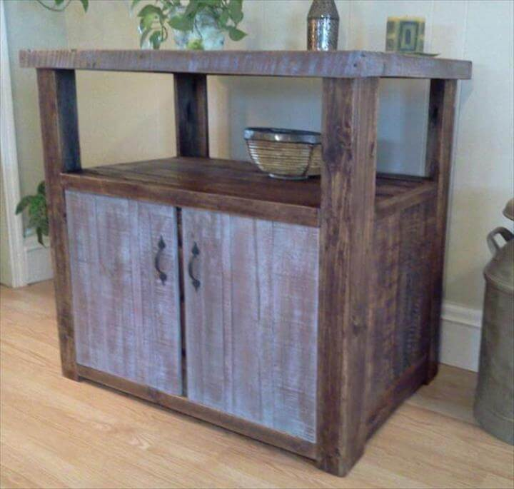 handcrafted wooden pallet vintage console table