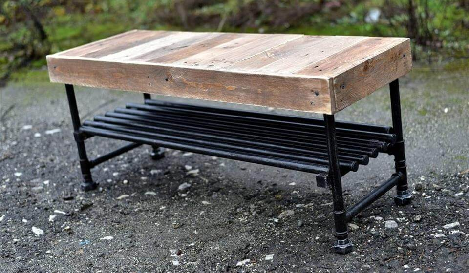 Wooden pallet industrial coffee table for Table exterieur design aluminium