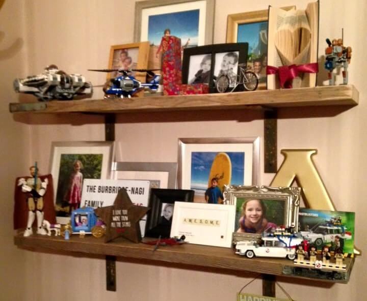 handcrafted wooden pallet display shelves
