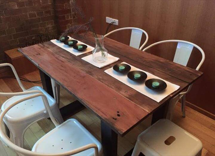 Wooden pallet hard wood dining table