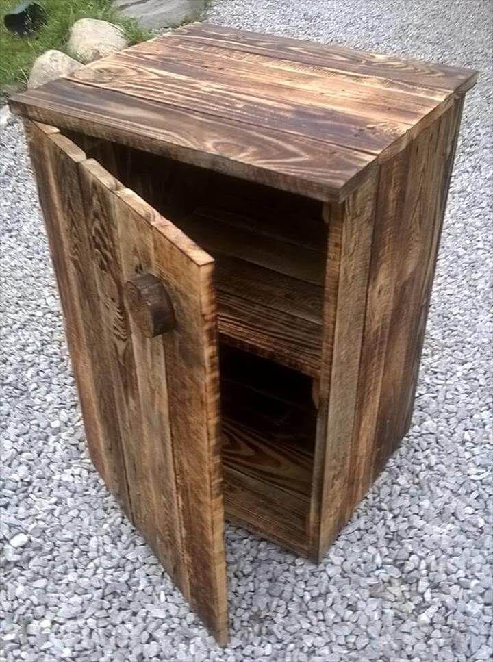 handcrafted wooden pallet nightstand