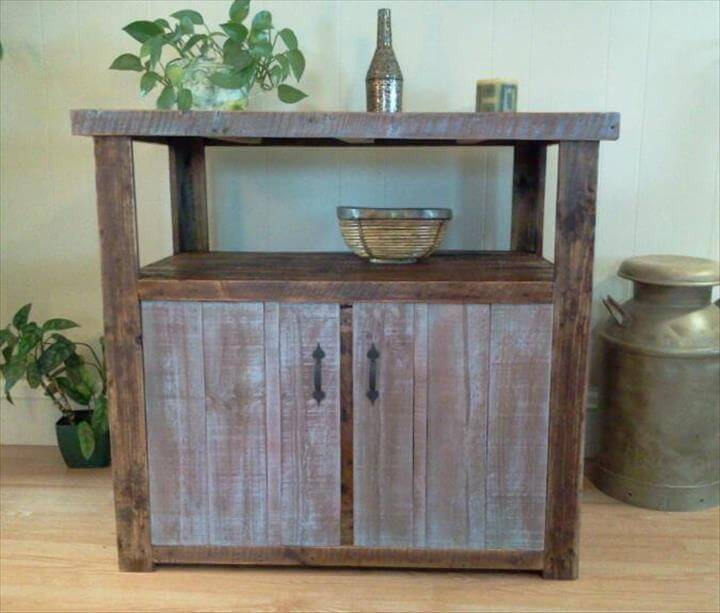 rustic pallet console table with storage
