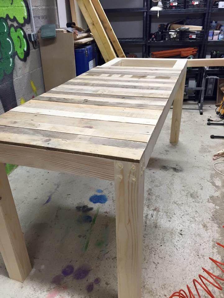 Repurposed pallet multi functional table