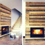 Pallet Wall Surrounding Faux Fireplace