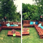 Pallets Outdoor Sofa and Table on Casters