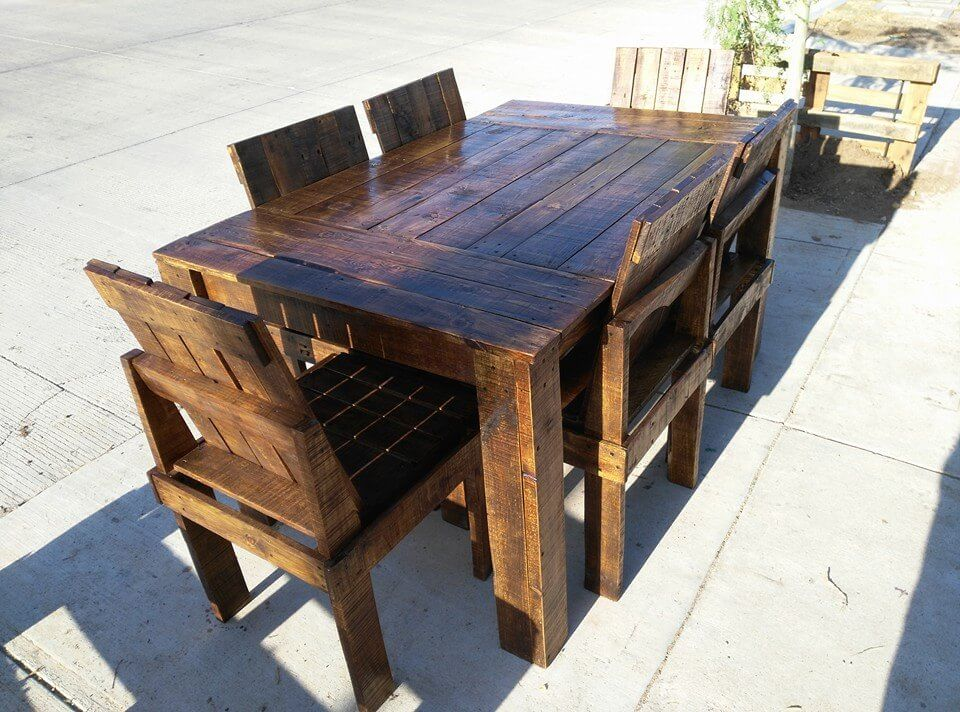 wooden pallet dining table and chairs set Small Dining Table Pallet Pallet Wood Dining Room Table