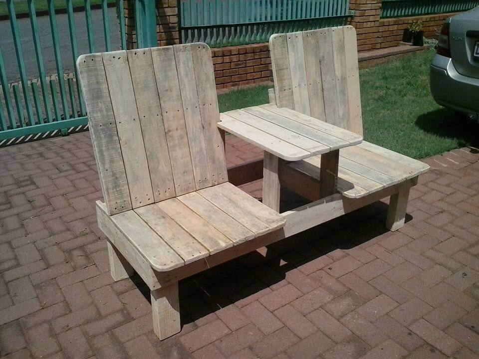 no-cost pallet double chair patio bench