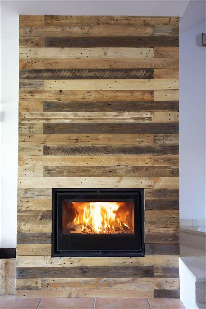 pallet wall surrounding faux fireplace 99 pallets