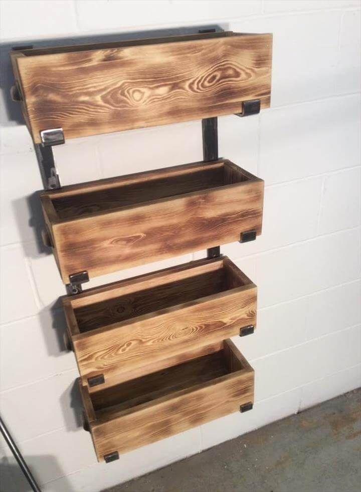 diy pallet and steel storage rack unit