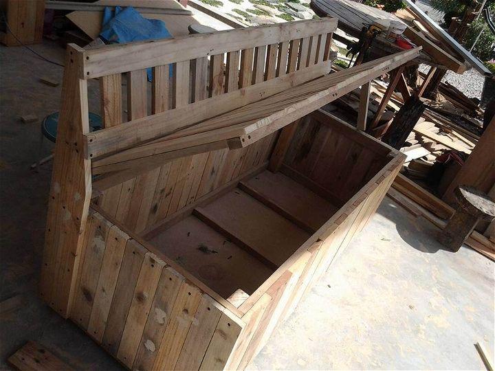 diy pallet outdoor bench with storage box