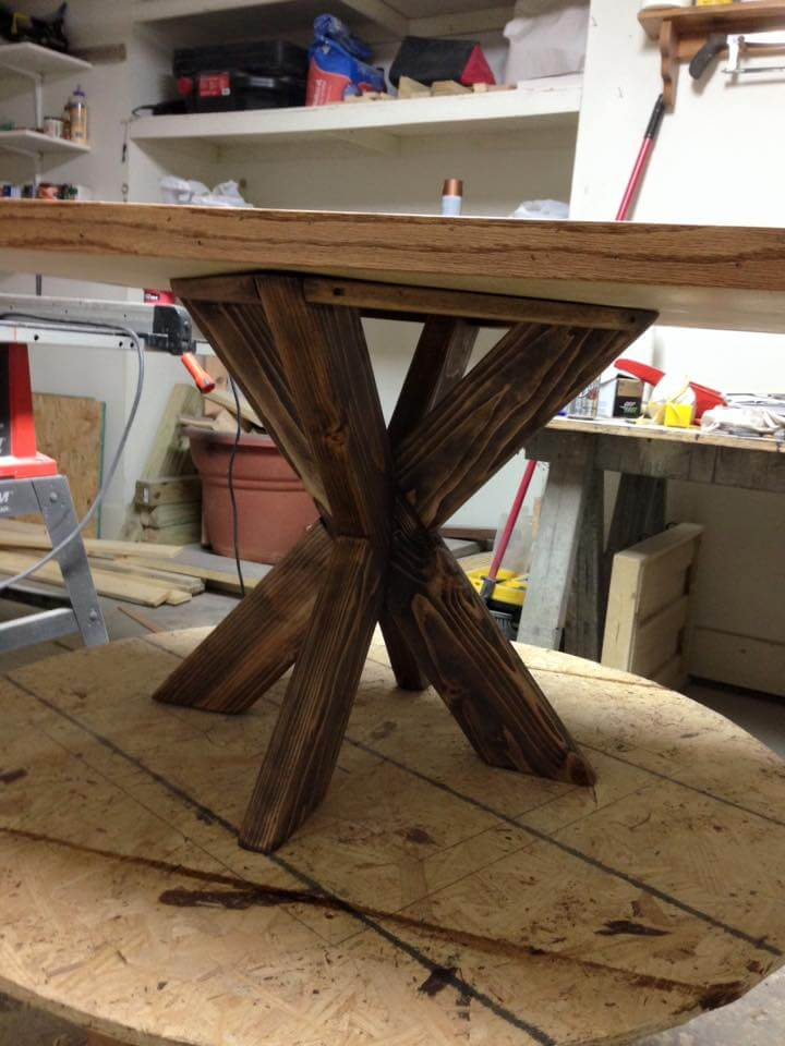 Recycled pallet dining table with X base