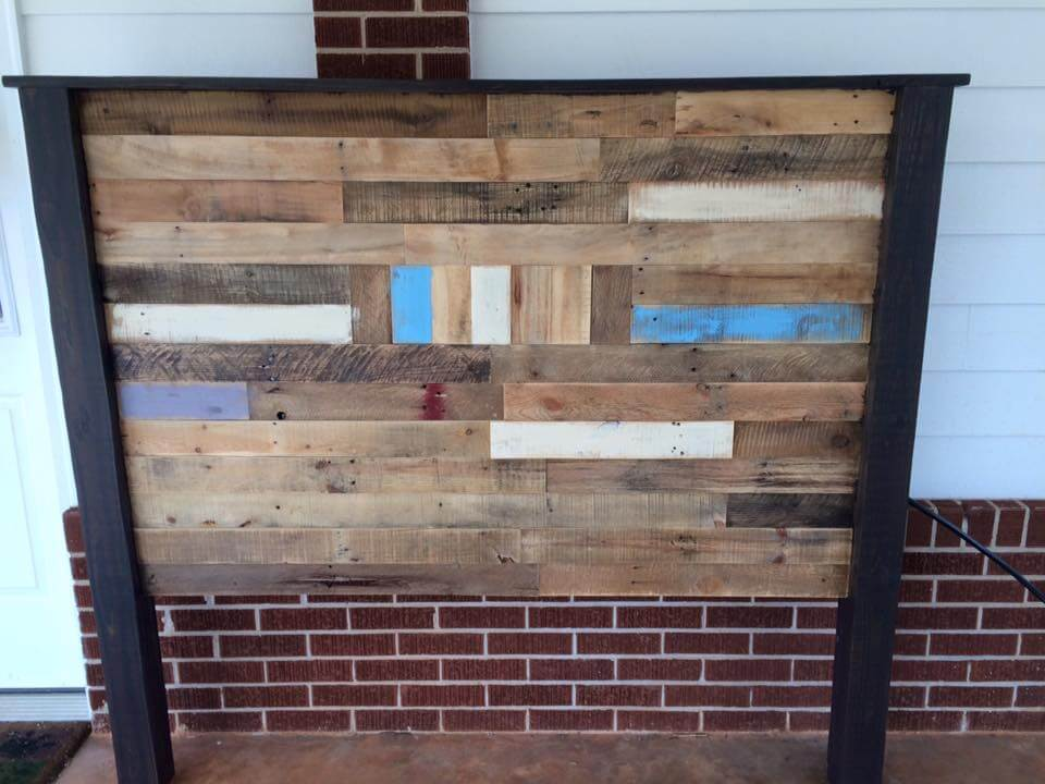 Wooden pallet queen size headboard