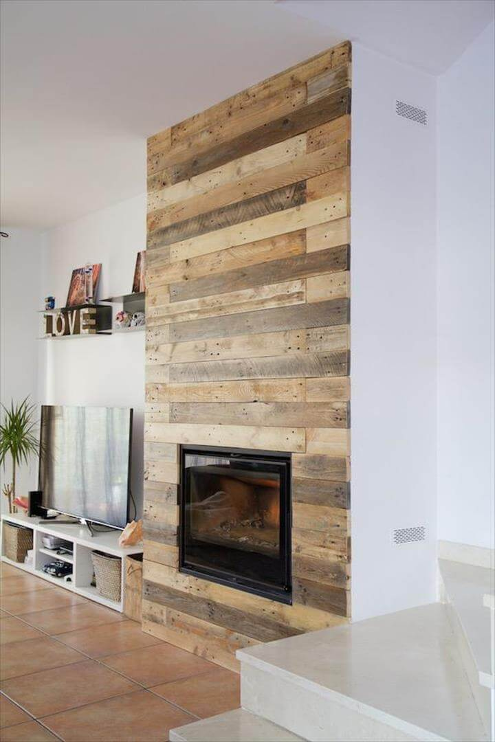 Pallet wall surrounding faux fireplace 99 pallets - Fire place walls ...