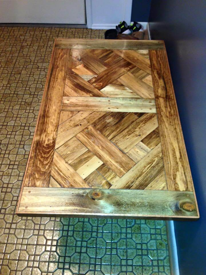 Reclaimed pallet dining table with X base