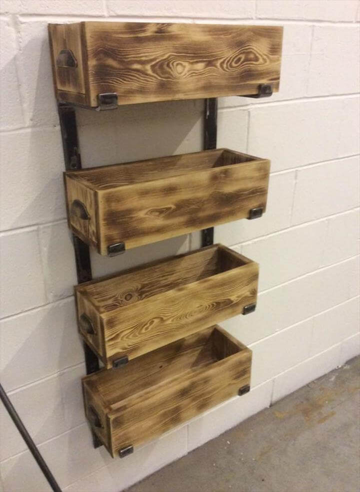 Recycled pallet and steel storage rack unit