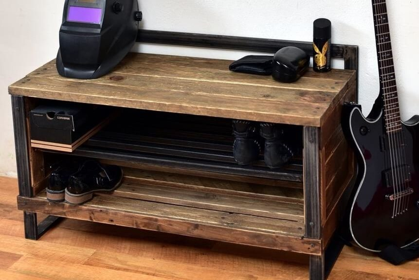 recycled pallet industrial shoe rack