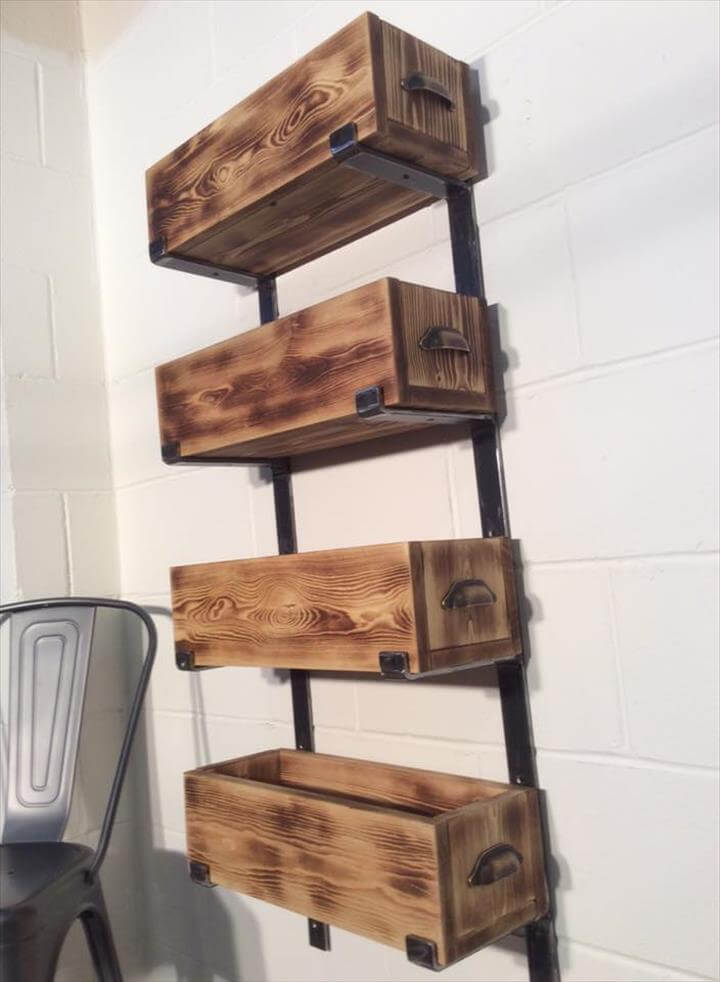 Reclaimed pallet and steel storage rack unit