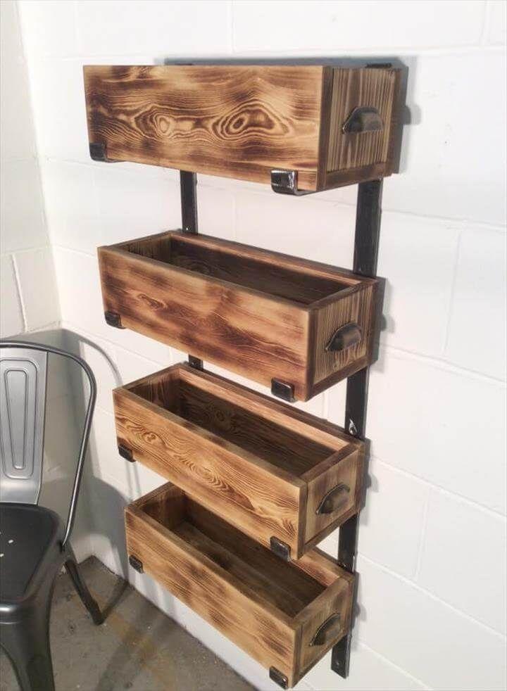 handmade pallet and steel storage rack unit