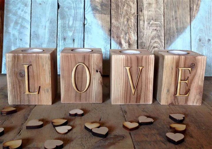 handmade pallet LOVE tealight holders