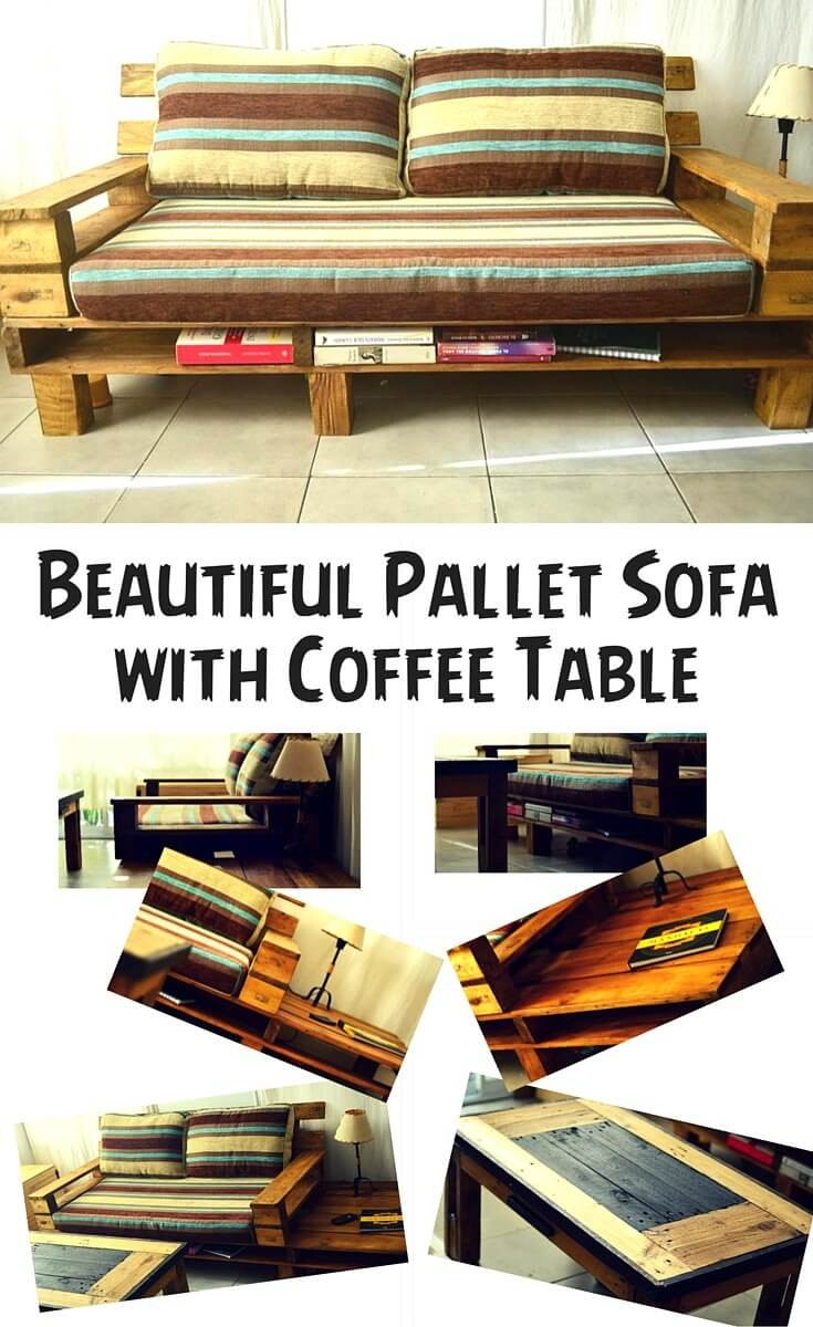 Diy pallet sofa with table 99 pallets - Pallet Sofa