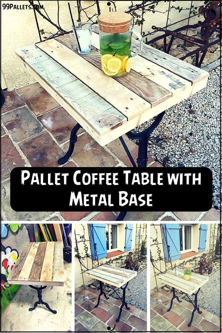 Pallet coffee table with metal base 99 pallets pallet coffee table geotapseo Image collections