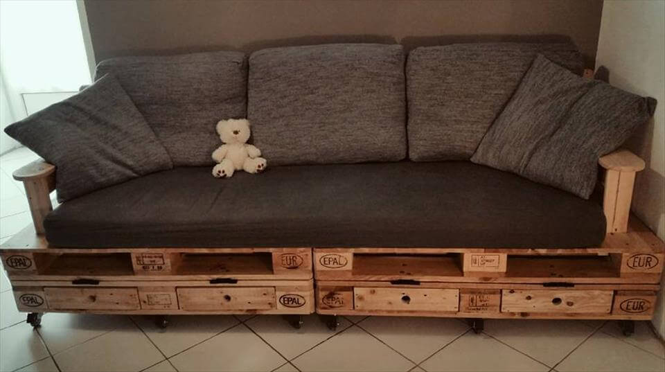 wooden pallet cushioned sofa with built-in drawers