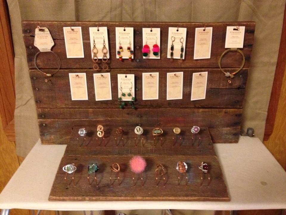 wooden pallet dark brown choco jewelry organizer