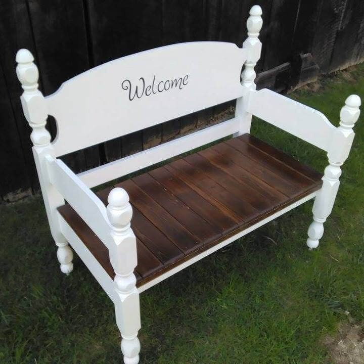 Antique Headboard Bench: Old Headboard And Pallet Bench