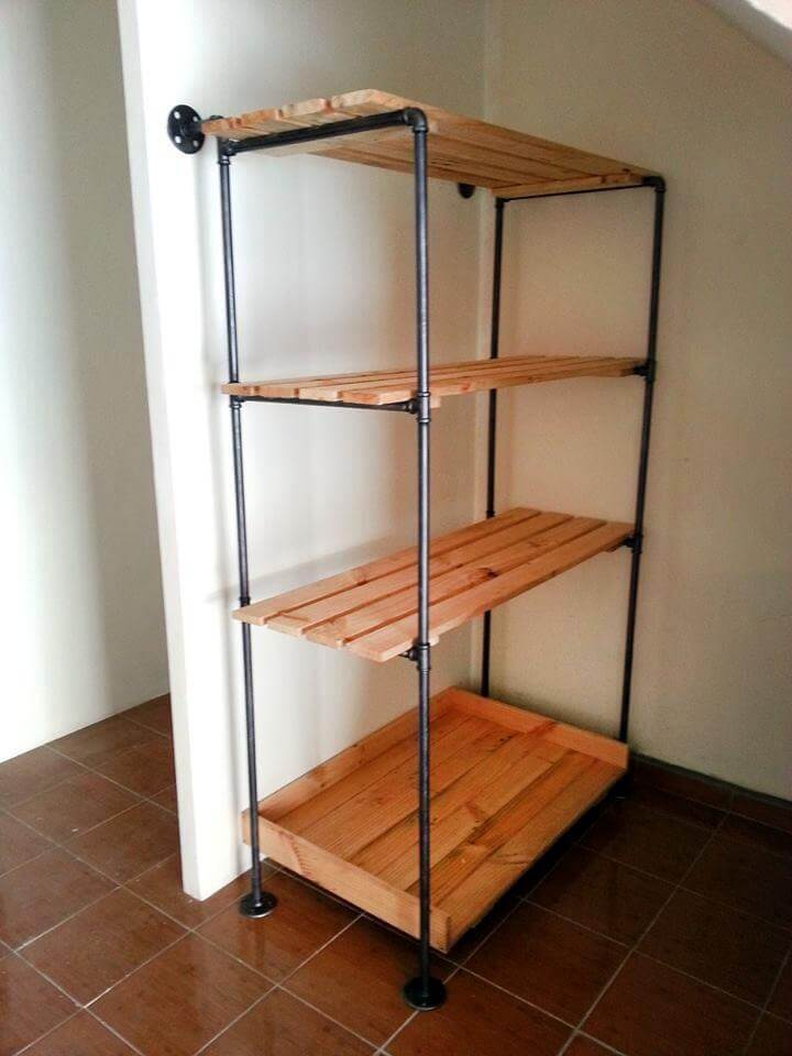 Pallet And Metal Pipe Storage Rack Bookcase 99 Pallets