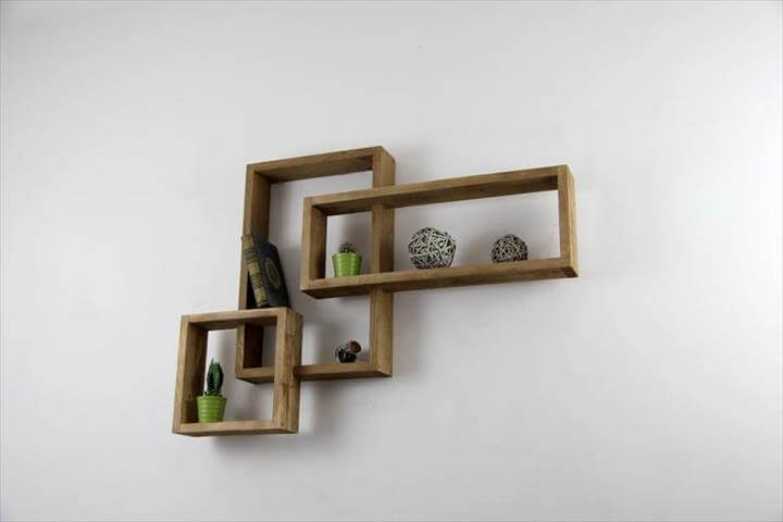 wooden pallet art style shelves