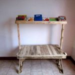 Wooden Pallet Bench with Bookshelf