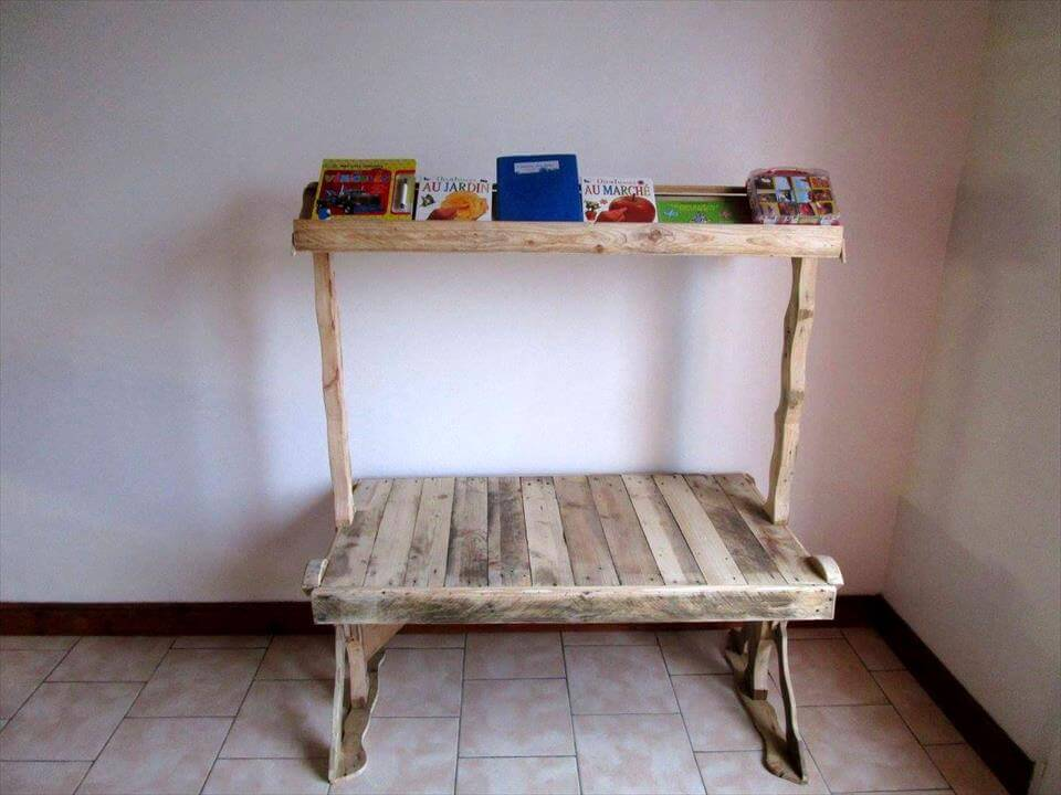 recycled pallet desk with bookshelf
