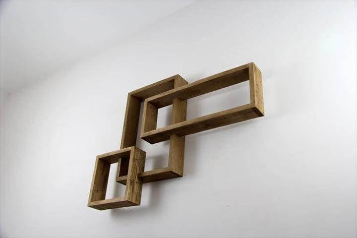 handmade pallet art style shelves
